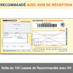 Recommandés avec AR format classique avec Code Barre<br/>(Boîte de 100 Liasses)